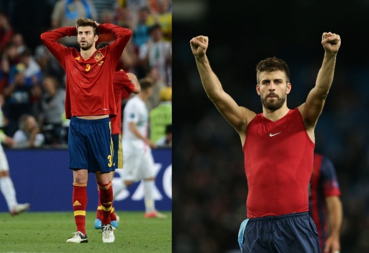 Spanish defender Gerard Pique reacts during the Euro 2012 football championships semi-final match Portugal vs. Spain on June 27, 2012 at the Donbass Arena in Donetsk.   AFP PHOTO / FRANCK FIFE        (Photo credit should read FRANCK FIFE/AFP/GettyImages)